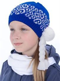 """Новогодняя шапка ТД-202 """"Снегурочка"""" синяя"""