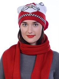 Новогодняя шапка ТД-462 красный-молочный