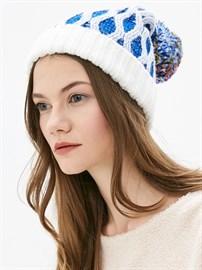 Вязаная шапка ТД-337 белый-синий