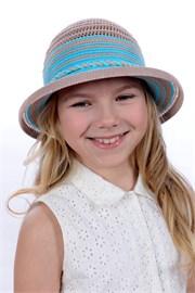Шляпка детская летняя Дети/Л30 бежевый-бирюза