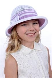 Шляпка детская летняя Дети/Л32 белый-орхидея