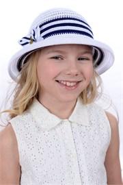 Шляпка детская летняя Дети/Л34 белый-синий