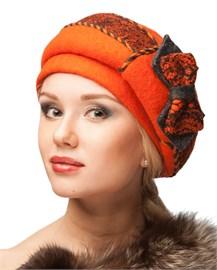 Берет женский Д-314 оранжевый от Сиринга-стиль