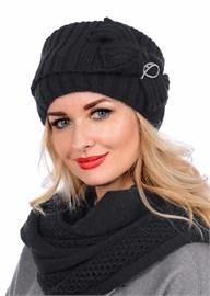 Вязаная шапка-кубанка ТД-405 черная Сиринга-стиль