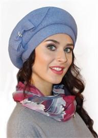 Берет женский Д-490 голубой Сиринга-стиль