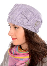 Вязаная шапка-кубанка ТД-405 сиреневая Сиринга-стиль
