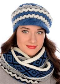 Вязаная кепка ТД-417 синяя-молочная Сиринга-стиль