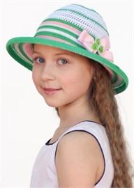 Шляпка детская летняя Дети/ТЛ-39 белый-зеленый-розовый Сиринга-стиль