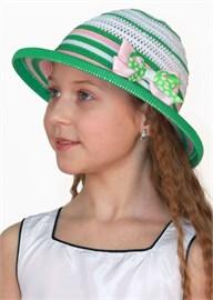 Шляпка детская летняя Дети/ТЛ-39/2 белый-зеленый-розовый Сиринга-стиль