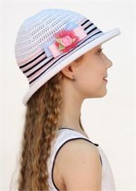 Шляпка детская летняя Дети/ТЛ-40/1 белый-черный-розовый Сиринга-стиль