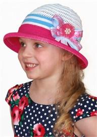 Детская летняя шляпка Дети/ТЛ-43/1 малиновый-белый-голубой