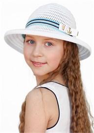 Шляпка детская Дети/Л29 бел/бирюза/темно-синий