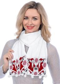 Новогодний шарф ТД-284А белый-красный